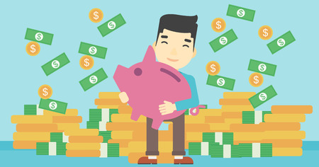 money rain: An asian happy young businessman holding a big piggy bank in hands under money rain on the background of stacks of gold coins. Vector flat design illustration. Horizontal layout. Illustration