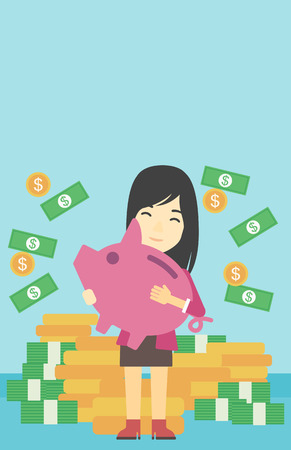 money rain: An asian young business woman holding a big piggy bank in hands under money rain on the background of stacks of golden coins. Vector flat design illustration. Vertical layout. Illustration