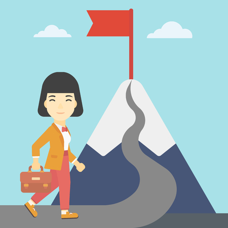 asian business: An asian business woman standing at the foot of the mountain. Business woman walking on road leading to flag on the top of the mountain. Vector flat design illustration. Square layout.
