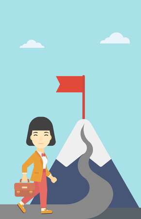 asian business woman: An asian business woman standing at the foot of the mountain. Business woman walking on road leading to flag on the top of the mountain. Vector flat design illustration. Vertical layout.