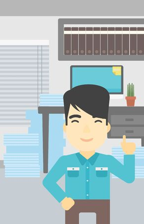 forefinger: An asian young happy businessman standing in the office and pointing up with his forefinger. Business idea concept. Vector flat design illustration. Vertical layout.