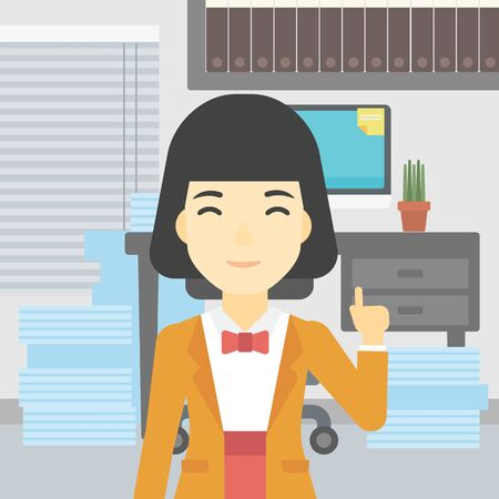 business woman standing: An asian young happy business woman standing in the office and pointing up with her forefinger. Business idea concept. Vector flat design illustration. Square layout.