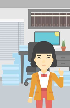 An asian young happy business woman standing in the office and pointing up with her forefinger. Business idea concept. Vector flat design illustration. Vertical layout. Illustration