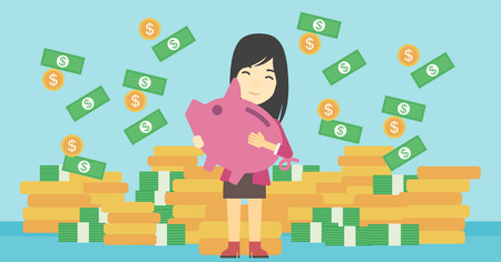 woman holding money: An asian young business woman holding a big piggy bank in hands under money rain on the background of stacks of golden coins. Vector flat design illustration. Horizontal layout.