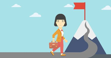 asian business: An asian business woman standing at the foot of the mountain. Business woman walking on road leading to flag on the top of the mountain. Vector flat design illustration. Horizontal layout.
