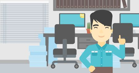 forefinger: An asian young happy businessman standing in the office and pointing up with his forefinger. Business idea concept. Vector flat design illustration. Horizontal layout.