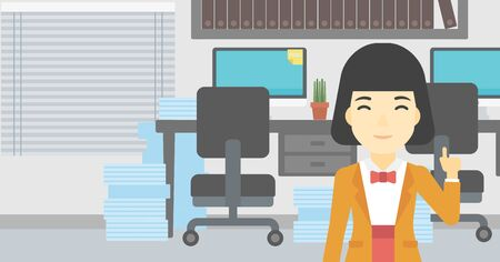 forefinger: An asian young happy business woman standing in the office and pointing up with her forefinger. Business idea concept. Vector flat design illustration. Horizontal layout.