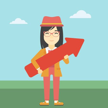 asian business: An asian  young business woman holding a big arrow in hands. Successful business concept. Vector flat design illustration. Square layout.