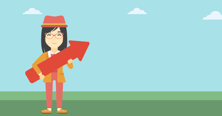 asian business: An asian  young business woman holding a big arrow in hands. Successful business concept. Vector flat design illustration. Horizontal layout.