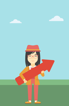 asian business: An asian  young business woman holding a big arrow in hands. Successful business concept. Vector flat design illustration. Vertical layout.