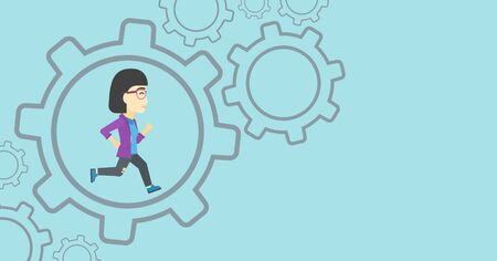 asian manager: An asian  young business woman running inside a big cogwheel on a blue background. Vector flat design illustration. Horizontal layout.