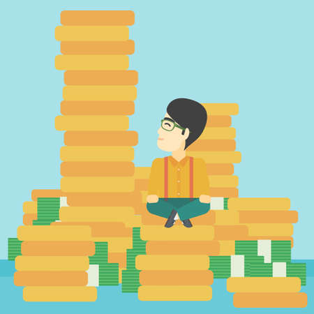An asian  young businessman sitting on stack of gold coins and looking up to the biggest one. Successful business concept. Vector flat design illustration. Square layout. Ilustração