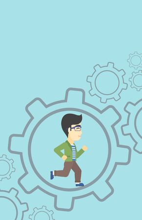 moving in: An asian  young businessman running inside a big cogwheel on a blue background. Vector flat design illustration. Vertical layout.