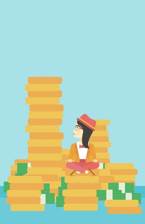 An asian  young business woman sitting on stack of golden coins and looking up to the biggest one. Successful business concept. Vector flat design illustration. Vertical layout. Çizim