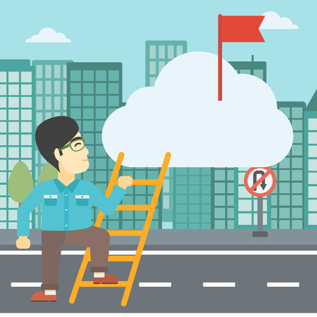 stair climber: An asian young businessman climbing up the ladder to get the red flag on the top of the cloud on a city background. Vector flat design illustration. Square layout.