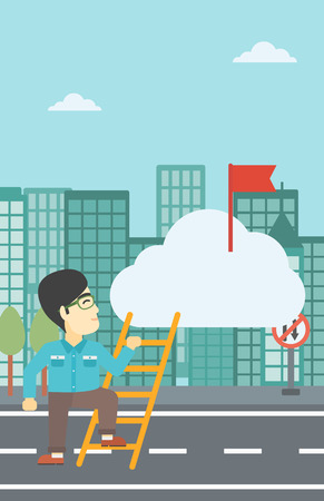 stair climber: An asian young businessman climbing up the ladder to get the red flag on the top of the cloud on a city background. Vector flat design illustration. Vertical layout.