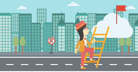 stair climber: An asian young business woman climbing up the ladder to get the red flag on the top of the cloud on a city background. Vector flat design illustration. Horizontal layout.