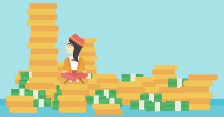 An asian  young business woman sitting on stack of golden coins and looking up to the biggest one. Successful business concept. Vector flat design illustration. Horizontal layout.