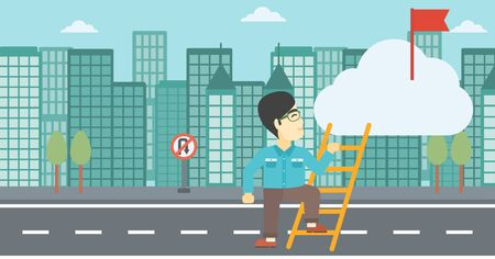 stair climber: An asian young businessman climbing up the ladder to get the red flag on the top of the cloud on a city background. Vector flat design illustration. Horizontal layout. Illustration