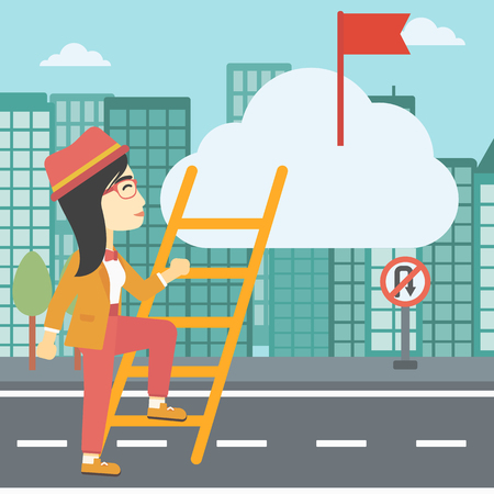 stair climber: An asian young business woman climbing up the ladder to get the red flag on the top of the cloud on a city background. Vector flat design illustration. Square layout. Illustration