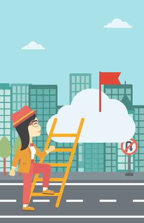 climbing up: An asian young business woman climbing up the ladder to get the red flag on the top of the cloud on a city background. Vector flat design illustration. Vertical layout.