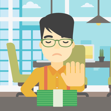 An asian  young businessman sitting at the table in office and moving dollar bills away. Vector flat design illustration. Square layout. 向量圖像