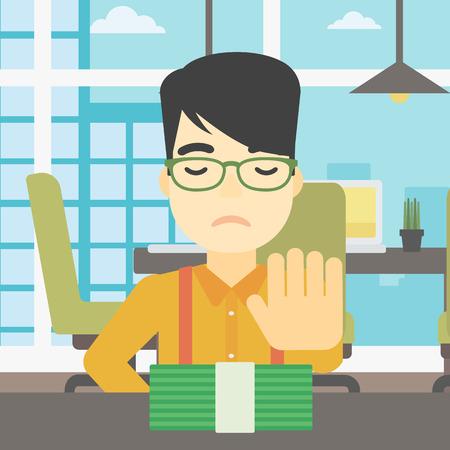 Een Aziatische jonge zakenman zit aan de tafel in kantoor en verhuist dollarbiljetten weg. Vector platte ontwerp illustratie. Vierkant layout. Stock Illustratie