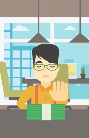 Een Aziatische jonge zakenman zitten aan de tafel in het kantoor en het verplaatsen van dollarbiljetten weg. Vector platte ontwerp illustratie. Verticale lay-out.