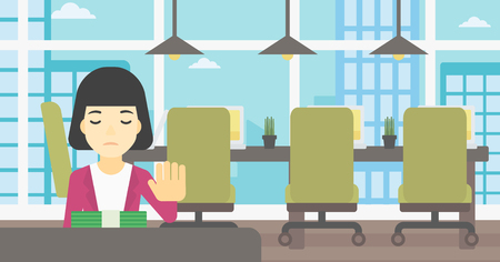 bribery: An asian  young business woman sitting at the table in office and moving dollar bills away. Vector flat design illustration. Horizontal layout.