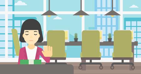 Een Aziatische jonge bedrijfsvrouwenzitting bij de lijst in bureau en bewegende dollarrekeningen weg. Vector platte ontwerp illustratie. Horizontale lay-out. Stock Illustratie