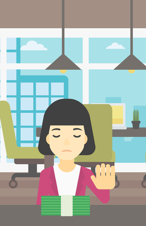moving in: An asian  young business woman sitting at the table in office and moving dollar bills away. Vector flat design illustration. Vertical layout.
