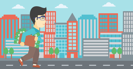 businessman walking: An asian  young businessman walking in the city with suitcase full of money. Vector flat design illustration. Horizontal layout.