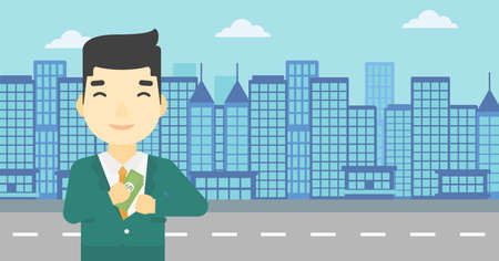 putting money in pocket: An asian  young businessman putting money in his pocket on a city background. Vector flat design illustration. Horizontal layout.