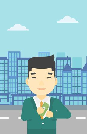putting: An asian  young businessman putting money in his pocket on a city background. Vector flat design illustration. Vertical layout.