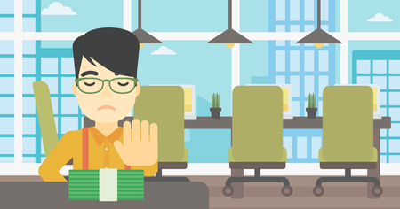 moving office: An asian  young businessman sitting at the table in office and moving dollar bills away. Vector flat design illustration. Horizontal layout.
