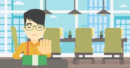 Een Aziatische jonge zakenman zitten aan de tafel in het kantoor en het verplaatsen van dollarbiljetten weg. Vector platte ontwerp illustratie. Horizontale lay-out.