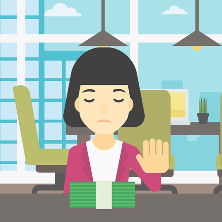 bribery: An asian  young business woman sitting at the table in office and moving dollar bills away. Vector flat design illustration. Square layout. Illustration