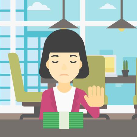 Een Aziatische jonge bedrijfsvrouwenzitting bij de lijst in bureau en bewegende dollarrekeningen weg. Vector platte ontwerp illustratie. Vierkante lay-out.