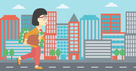 speedboats: An asian  young business woman walking in the city with suitcase full of money. Vector flat design illustration. Horizontal layout. Illustration