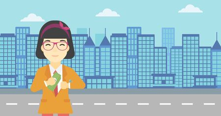 putting money in pocket: An asian  young business woman putting money in her pocket on a city background. Vector flat design illustration. Horizontal layout.