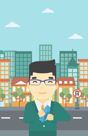 put: An asian  young businessman putting an envelope in his pocket on a city background. Vector flat design illustration. Vertical layout.