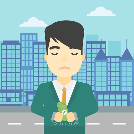 An asian  young businessman in handcuffs with money in hands on the background of modern city. Businessman handcuffed for crime. Vector flat design illustration. Square layout.