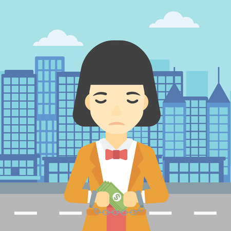 An asian  young business woman in handcuffs with money in hands on the background of modern city. Business woman handcuffed for crime. Vector flat design illustration. Square layout.