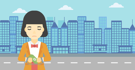 An asian  young business woman in handcuffs with money in hands on the background of modern city. Business woman handcuffed for crime. Vector flat design illustration. Horizontal layout.