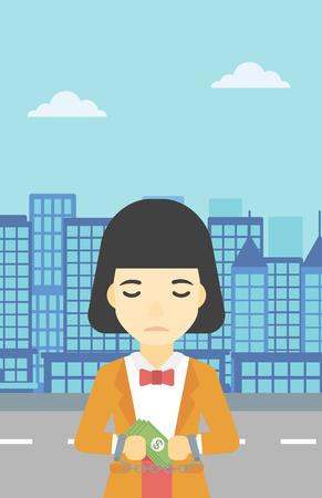 Eine asiatische junge Frau in Handschellen mit Geld in den Händen auf dem Hintergrund der modernen Stadt. Business-Frau für Verbrechen gefesselt. Vector flache Design-Illustration. Vertikal-Layout. Standard-Bild - 60099783