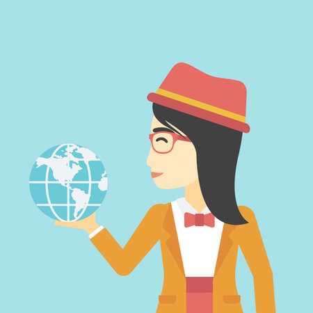 asian business: An asian  young business woman holding Earth globe in hand. Concept of global business. Vector flat design illustration. Square layout.