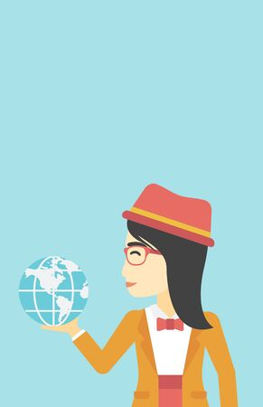 asian business: An asian  young business woman holding Earth globe in hand. Concept of global business. Vector flat design illustration. Vertical layout. Illustration