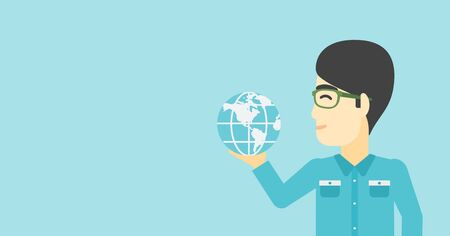 flat earth: An asian  young businessman holding Earth globe in hand. Concept of global business. Vector flat design illustration. Horizontal layout.