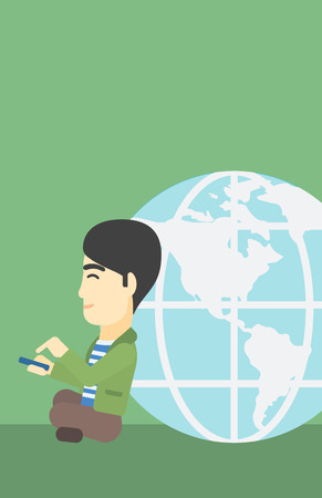 An asian  young businessman sitting near big Earth globe and holding a smartphone in hands. Concept of global business. Vector flat design illustration. Vertical layout. Illustration