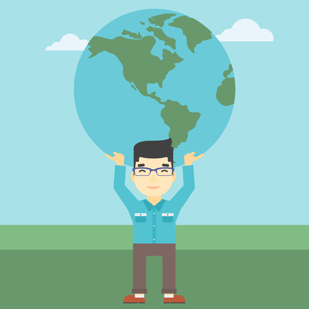 An asian  young businessman holding a big Earth globe over his head. Concept of global business. Vector flat design illustration. Square layout.